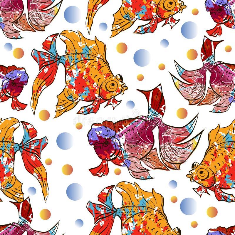 Nettes buntes nahtloses Muster mit Kalikogoldfisch und lionhead Goldfisch über weißem backgroud für Textil- oder Bucheinbänd, lizenzfreie abbildung