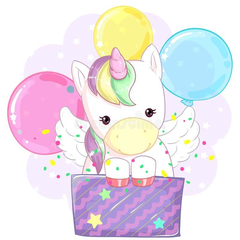 Nettes buntes Regenbogeneinhorn in einer Geschenkbox vor dem hintergrund der Ballone K?tzchen, das durch den Sprung zwischen den  lizenzfreie abbildung