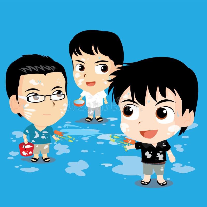 Nettes Charakterdesign - Songkran-Festival stockbilder