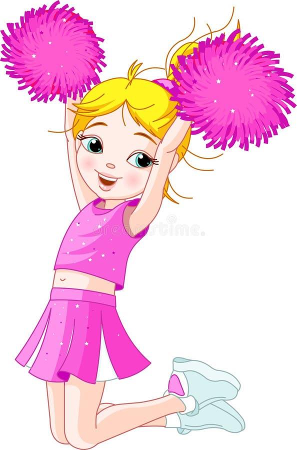 Nettes cheerleading Mädchen, das in einer Luft springt stock abbildung