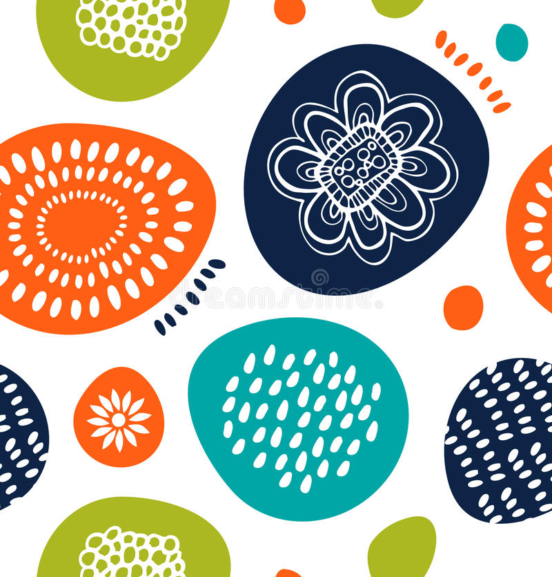 Nettes dekoratives Muster in der skandinavischen Art Abstrakter Hintergrund mit bunten einfachen Formen vektor abbildung