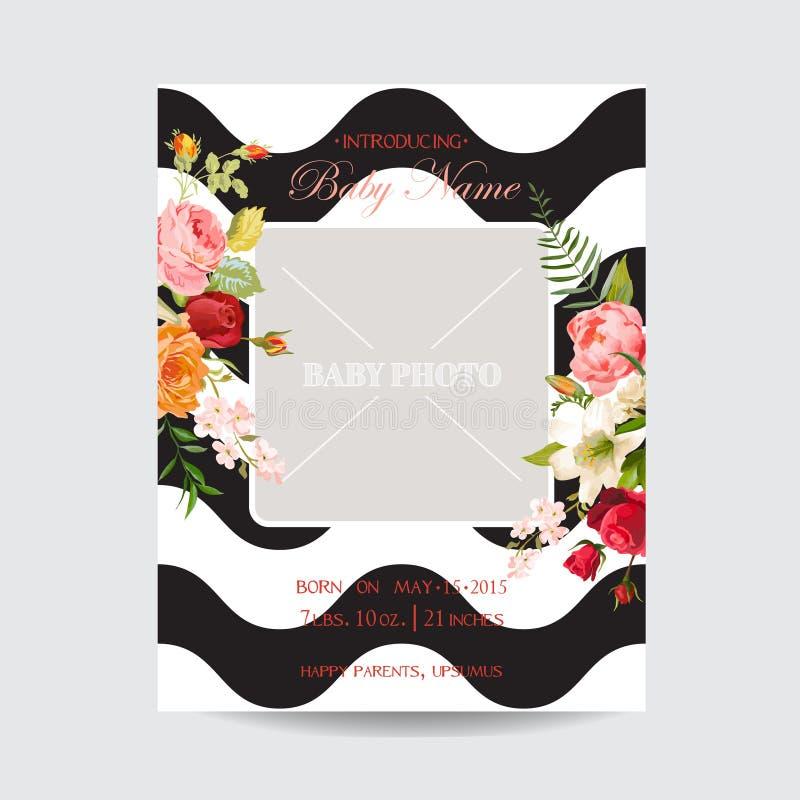 Nettes Design für Grußkarte, Geburtstagseinladung, Einklebebuch, Babyparty Gruß-Karten-Foto-Rahmen mit Lilien-und Orchideen-Blume stock abbildung