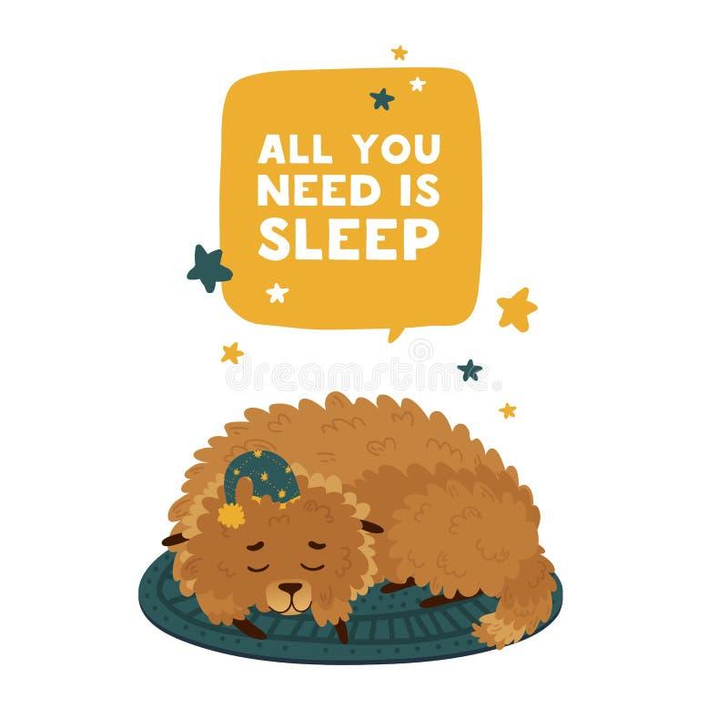 Nettes Design mit einem Schlafenkarikaturhund herein in einer Sternkappe Das Plakatdesign ist alles, das Sie sind Schlaf mit nett lizenzfreie abbildung