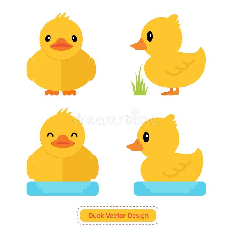 Nettes Duck Vector für Ikonenschablonen oder Darstellungshintergrund lizenzfreie abbildung