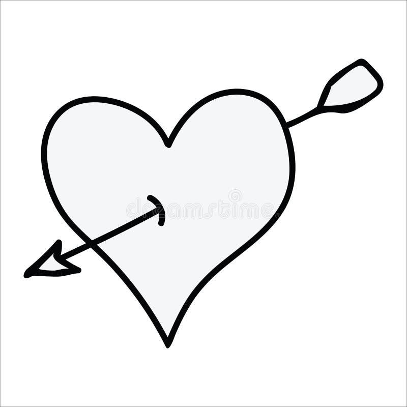 Nettes einfarbiges Herz mit Pfeillinie Kunstkarikaturvektorillustrations-Motivsatz Handgezogenes lokalisiertes romantisches Eleme stock abbildung