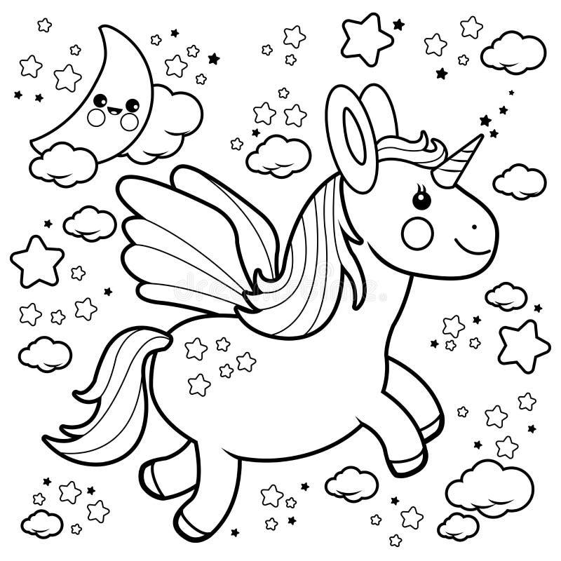 Nettes Einhornfliegen im nächtlichen Himmel Schwarzweiss-Malbuchseite lizenzfreie abbildung