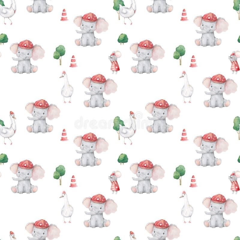 Nettes Elefantmuster Nahtloser Hintergrund mit Zeichentrickfilm-Figur des rosa Elefanten Minimales Baby oder Kinder drucken Entwu lizenzfreie abbildung