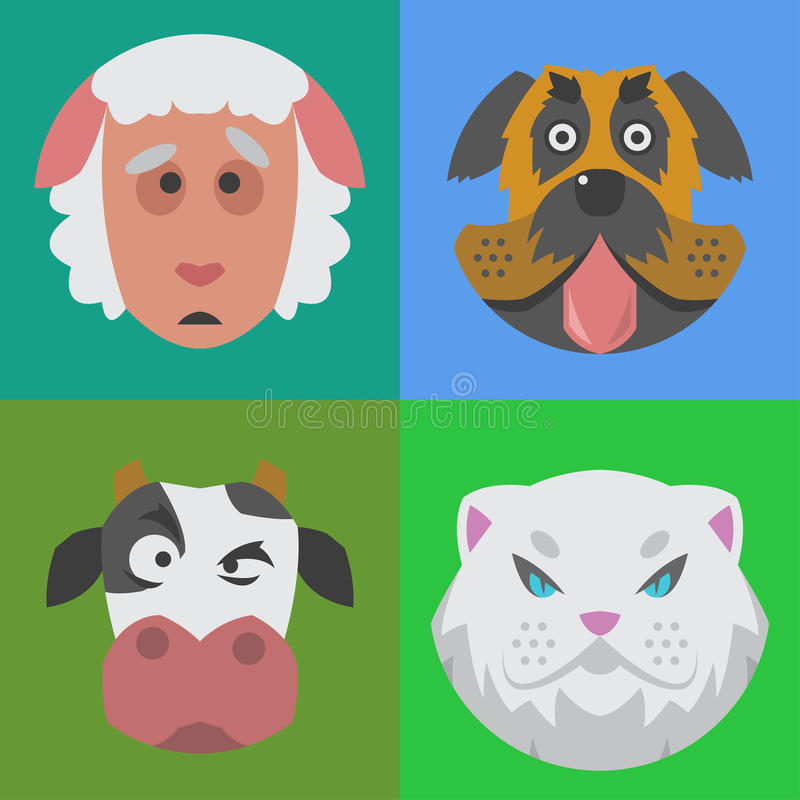 Nettes emoji Charakter des Gesichtes des Tiergefühlikonenspaßes gesetztes glückliches komisches entzückendes Haustier und Ausdruc lizenzfreie abbildung