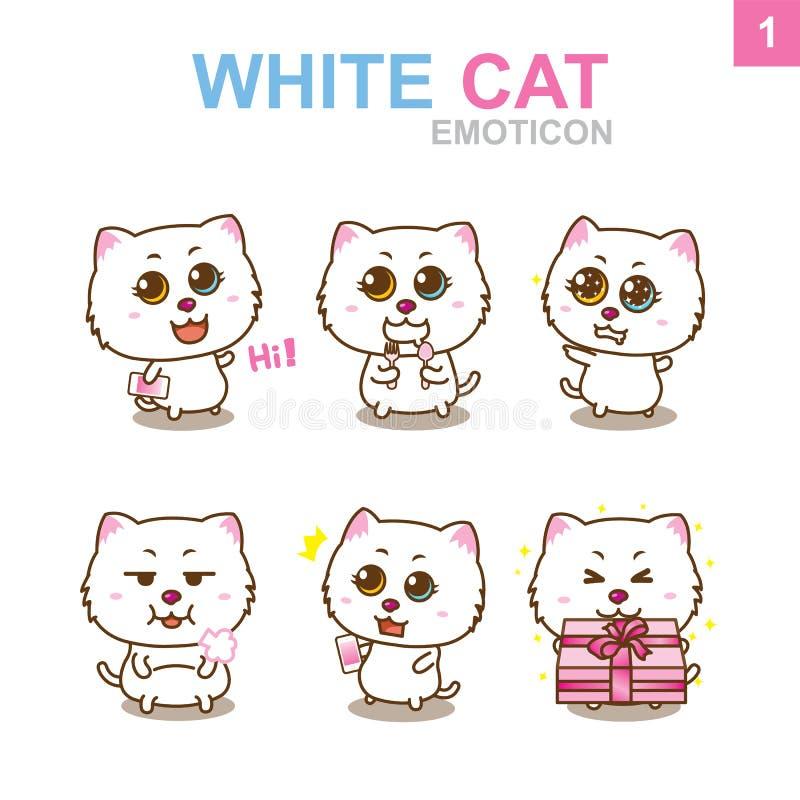 Nettes Emoticon-Design - Cat Set lizenzfreie stockfotos