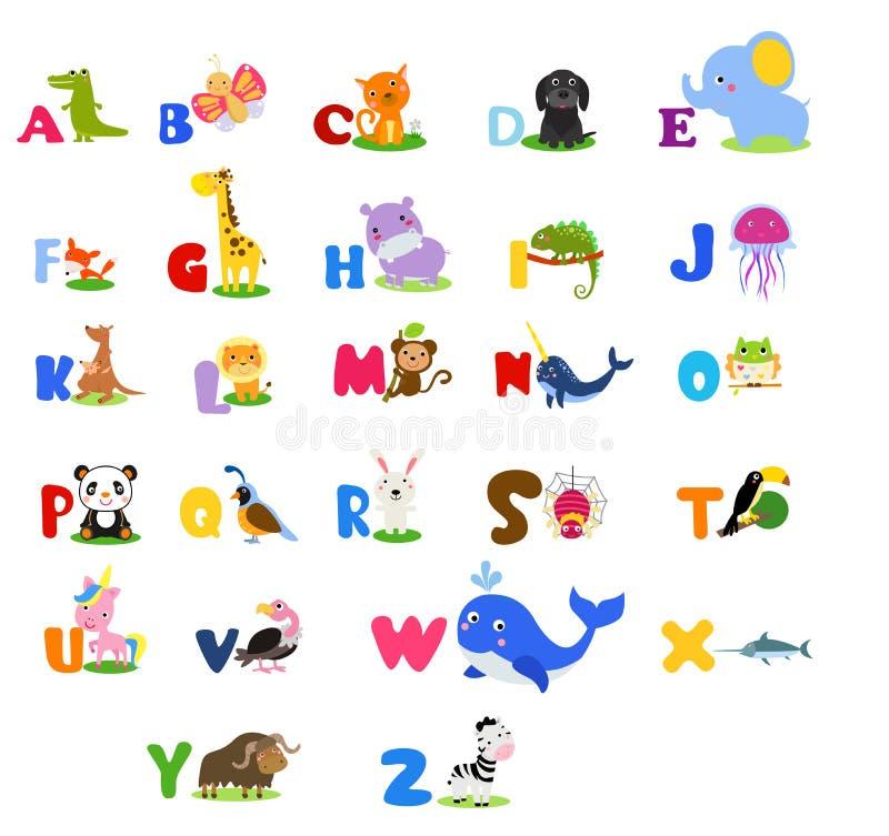 Nettes Englisch veranschaulichte Zooalphabet mit nettem Karikaturtier ikonen vektor abbildung