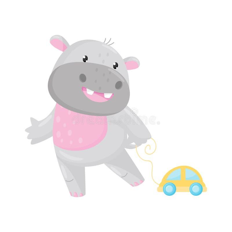 Nettes entzückendes Flusspferd, das mit Spielzeugauto, Zeichentrickfilm-Figur-Vektor Illustration des reizenden Ungetüms Tierspie vektor abbildung