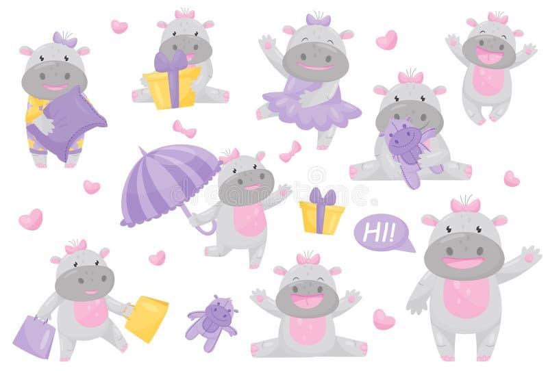 Nettes entzückendes Flusspferdmädchen mit Bogen im unterschiedlichen Situationssatz, reizende glückliche lächelnde Ungetümtierzei vektor abbildung