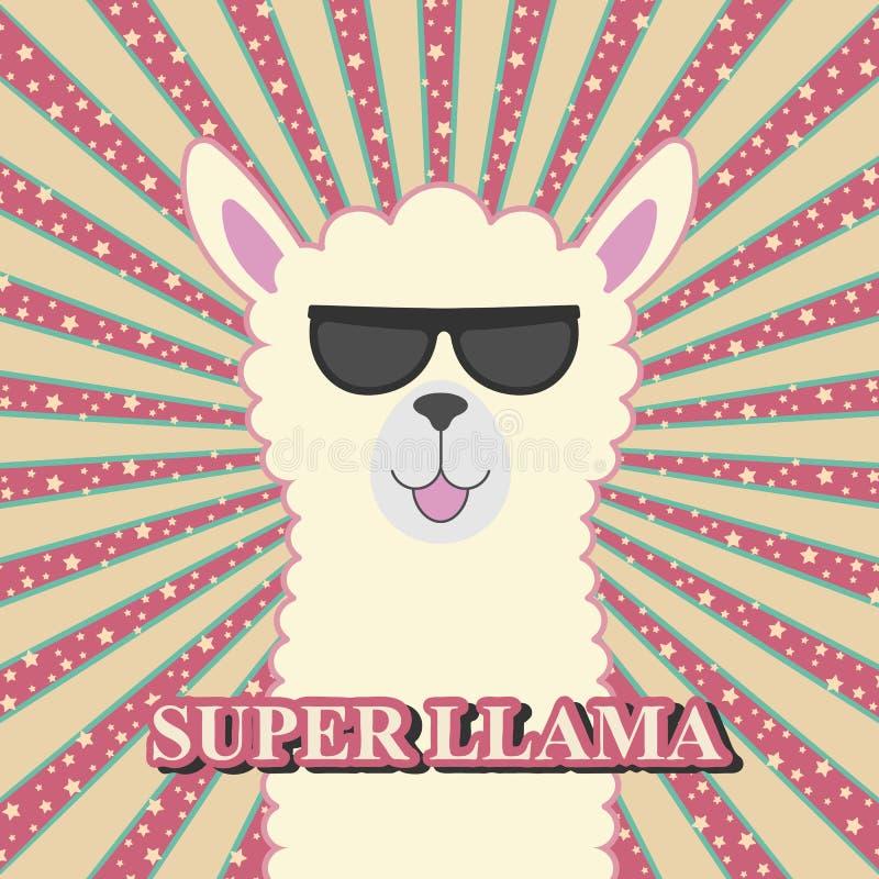 Nettes entz?ckendes Babylama der Gru?karte in der Sonnenbrille lizenzfreie abbildung
