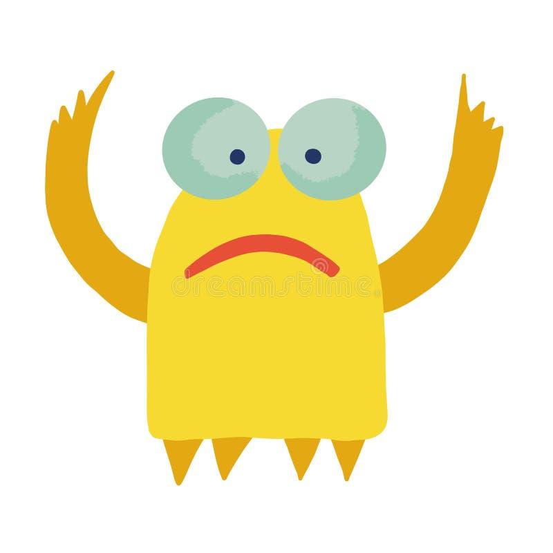 Nettes entz?ckendes Monster Nettes Karikaturmonster Fantasiekarikatursammlung mit gelbem nettem entzückendem Monster auf weißem H lizenzfreie abbildung