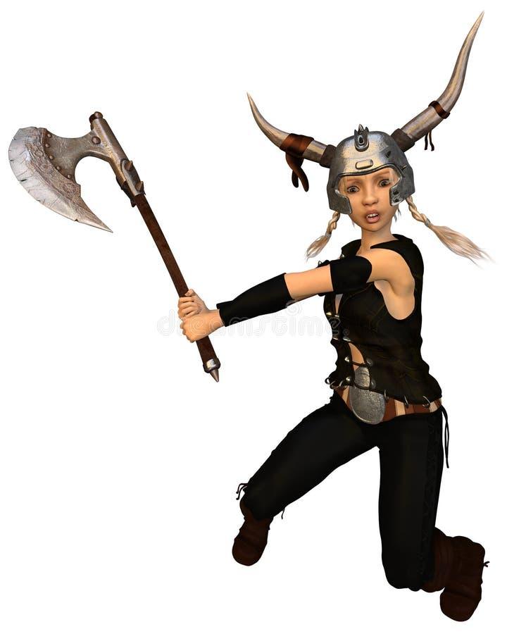 Nettes Fantasie-Wikinger-Krieger-Mädchen mit Axt lizenzfreie abbildung
