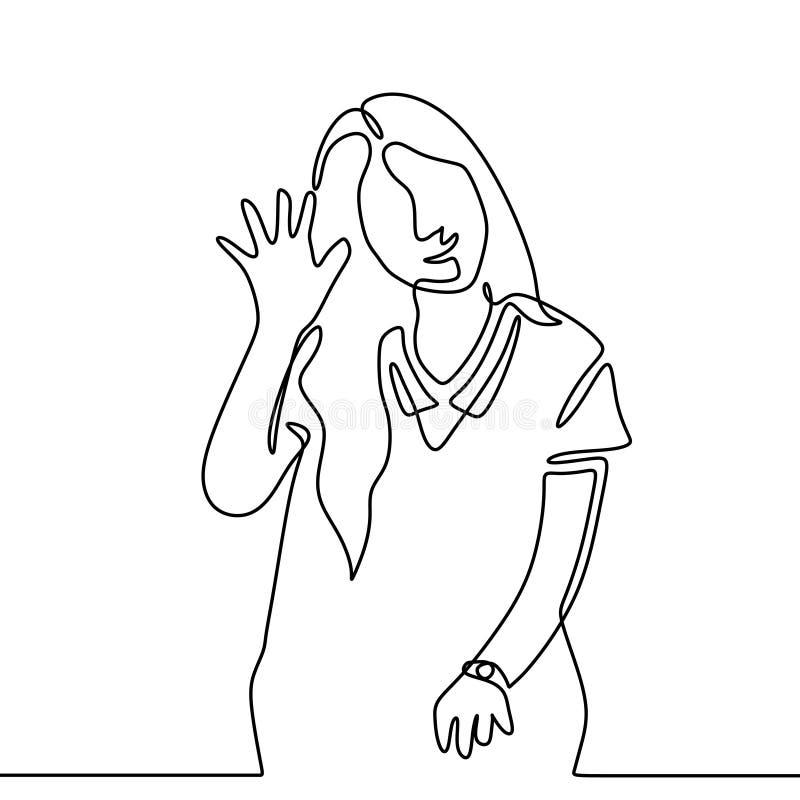 Nettes Federzeichnung des Mädchens eins sagen und hallo zum Publikum Guten Tag Ununterbrochene Handgezogener unbedeutender Entwur lizenzfreie abbildung