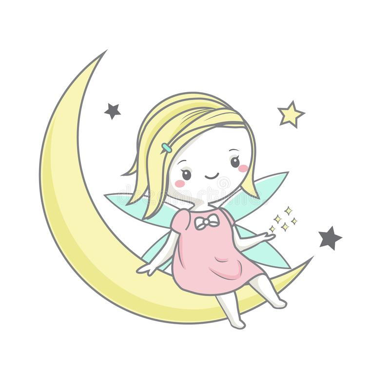 Nettes feenhaftes Sitzen auf Mond und Spiel mit Sternen Vektorillustration für Kinder arbeiten Drucke und Babyentwurf um lizenzfreie abbildung
