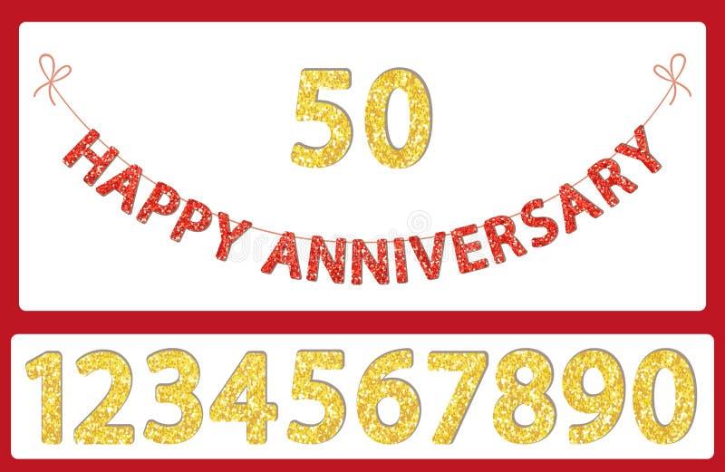 Nettes festliches Funkeln glückliche Jahrestagsbuchstaben und -zahlen, die für Ihre Dekoration mit dem Kopfe stoßen stock abbildung