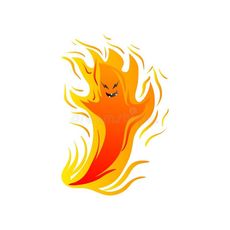 Nettes Feuermonster mit den Händen flammen Fliegen in einer Luft vektor abbildung