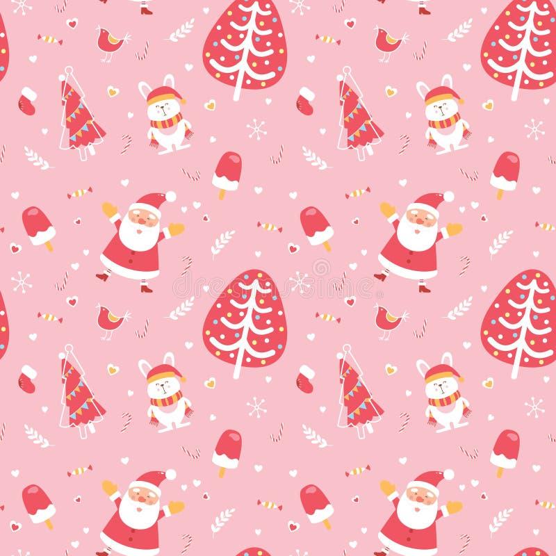 Nettes frohen nahtloses Muster der Weihnachten und des guten Rutsch ins Neue Jahr Ausgezeichnete illustrative Gestaltungselemente vektor abbildung