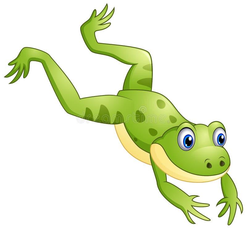Nettes Froschkarikaturspringen lizenzfreies stockfoto