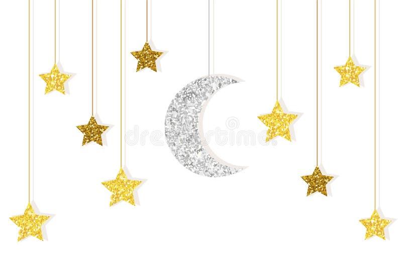 Nettes Funkelngold und Silbermond und Sterne, die an den Schnüren hängen stock abbildung