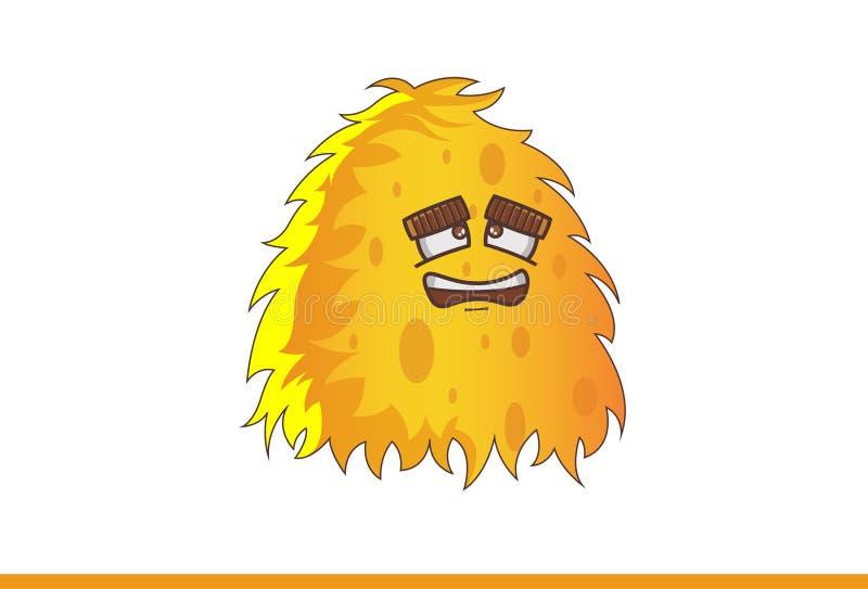 Nettes gelbes Monster niedergedrückt vektor abbildung