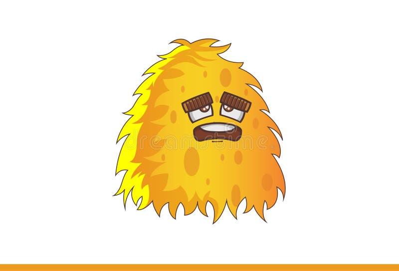 Nettes gelbes Monster niedergedrückt stock abbildung