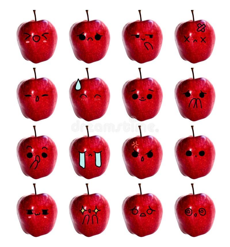 Nettes Gesicht des Emoticon - das rote Apfelisolat auf weißem Hintergrund stockfotos