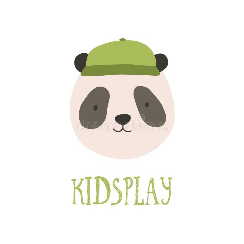 Nettes Gesicht oder Kopf des Pandabären stilvolle Kappe tragend Amüsante glückliche Mündung des wilden Tieres lokalisiert auf wei vektor abbildung