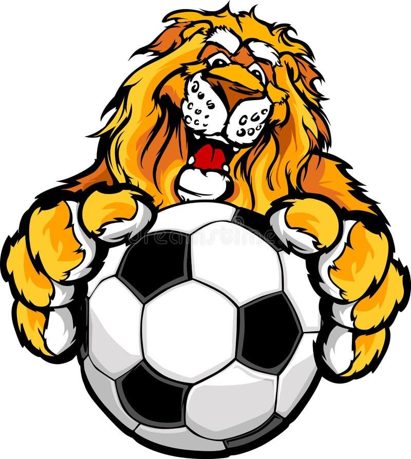 Nettes glückliches Löwe-Maskottchen mit Fußball-Kugel lizenzfreie abbildung