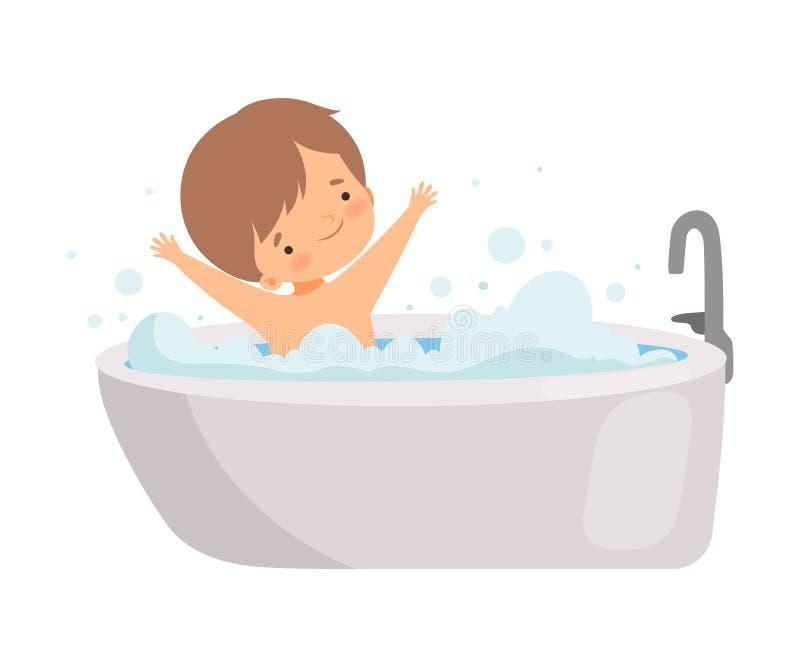 Nettes glückliches Little Boy, das Bad in der Badewanne voll vom Schaum, entzückendes Kind im Badezimmer, tägliche Hygiene-Vektor stock abbildung