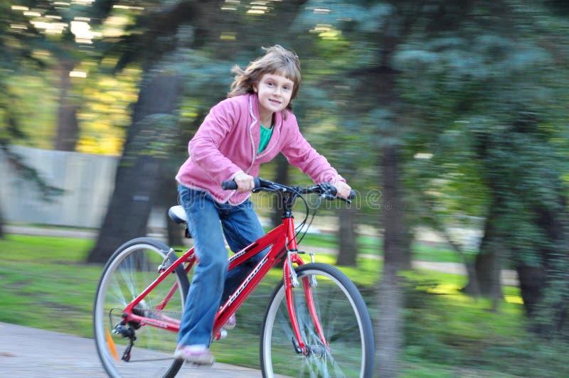 Nettes glückliches Mädchenreitfahrrad lizenzfreie stockfotos