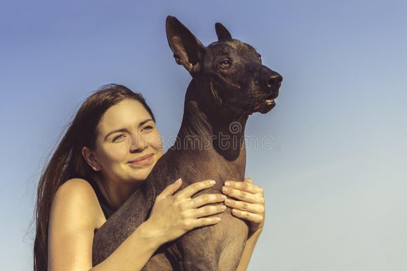 Nettes hübsches junges Mädchen, das ihr Hund-xoloitzcuintli am blauen Himmel bei Sonnenuntergang sitzt und umarmt stockbild