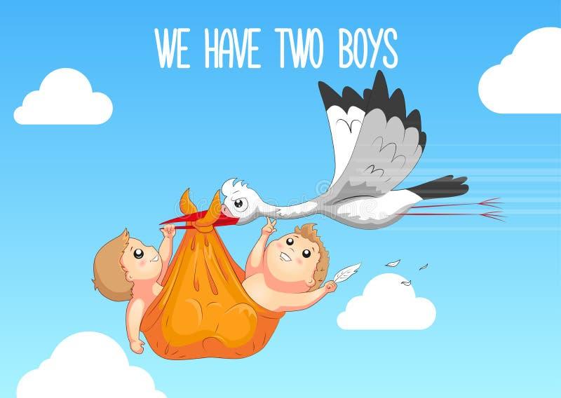 Nettes H?schen auf Blumenhintergrund mit Text Storch, der ein nettes Baby in einer Tasche tr?gt Wir haben zwei Jungen lizenzfreie abbildung