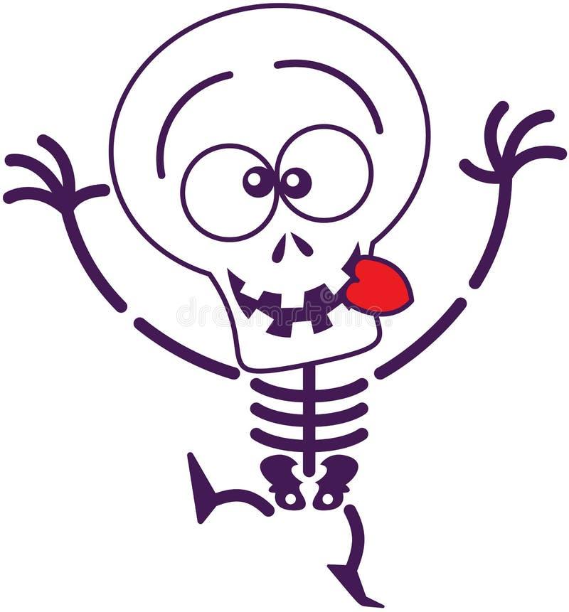Nettes Halloween-Skelett, das lustige Gesichter macht vektor abbildung