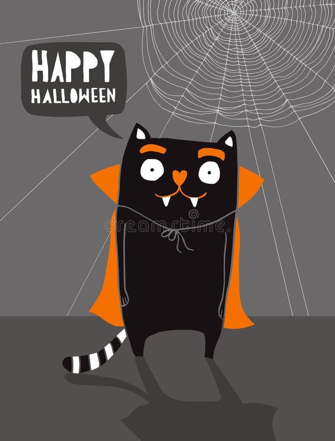 Nettes Halloween-Vektor-Muster mit Wicht-Katzen lizenzfreie abbildung