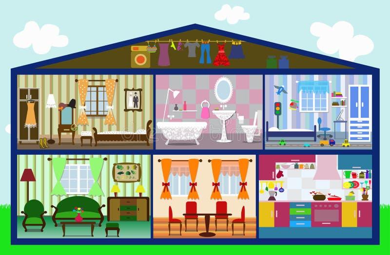 Nettes Haus in einem Schnitt.  Illustration