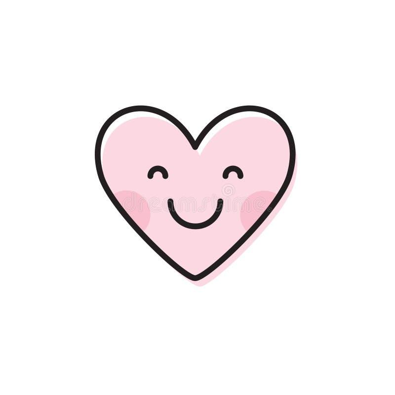 Nettes Herz emoji Lächelnde Gesichts-Ikone vektor abbildung