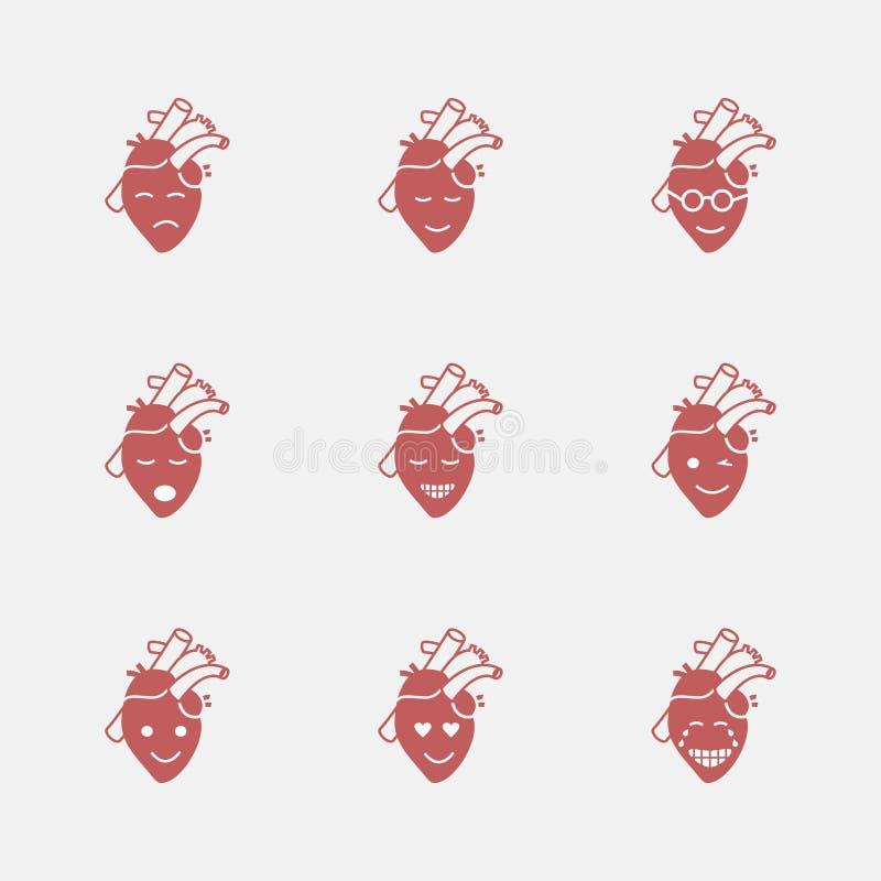 Nettes Herz emoji Lächelnde Gesichts-Ikone Vektorzeichen für Netzgraphiken vektor abbildung