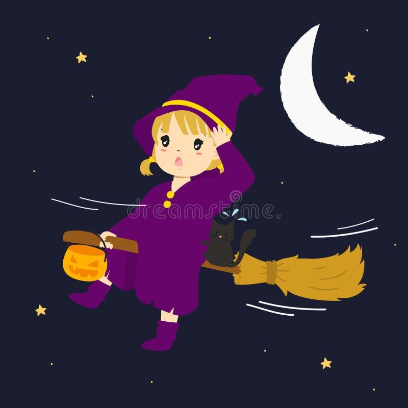 Nettes Hexen-Fliegen auf ihrem Besenstiel Halloween-Karikaturvektor stock abbildung