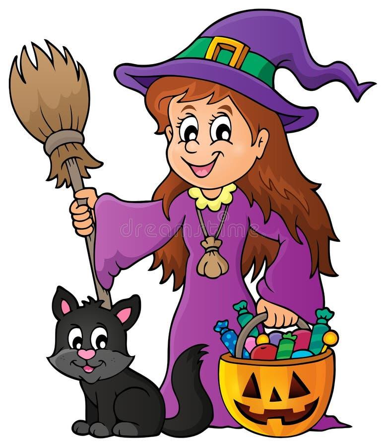 Nettes Hexen- und Katzenthemabild 1 lizenzfreie abbildung