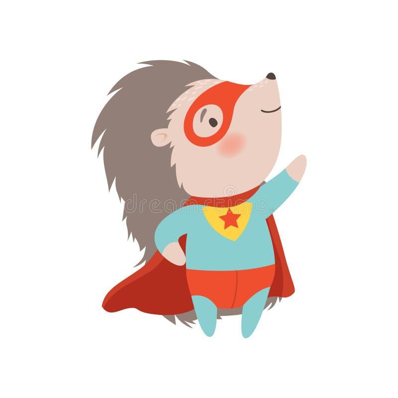 Nettes Igel-tragendes Superheld-Kostüm und Maske, tapfere stachelige Tierzeichentrickfilm-figur-Vektor-Illustration lizenzfreie abbildung