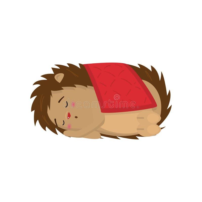 Nettes Igeles, das süß unter der roten Decke lokalisiert auf weißem Hintergrund schläft vektor abbildung