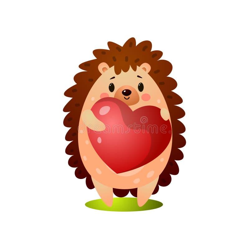 Nettes Igeles geben dem Freund einen großen Herzballon stock abbildung