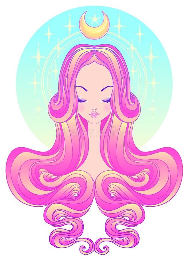 Nettes jugendlich Mädchen mit geschlossenen Augen und dem langen Haar Mischung von Kunst nouvea stock abbildung