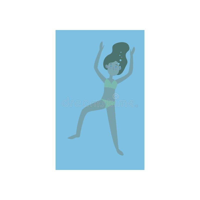 Nettes junges Mädchen in der gelben Badebekleidungsschwimmen Unterwasser vektor abbildung