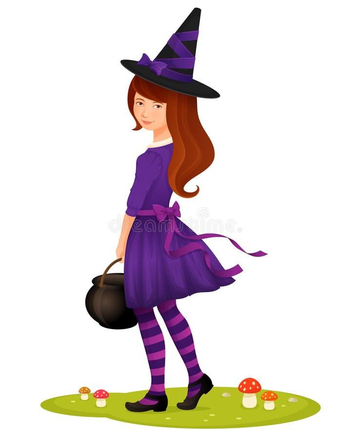 Nettes junges Mädchen gekleidet als Hexe für Halloween stock abbildung
