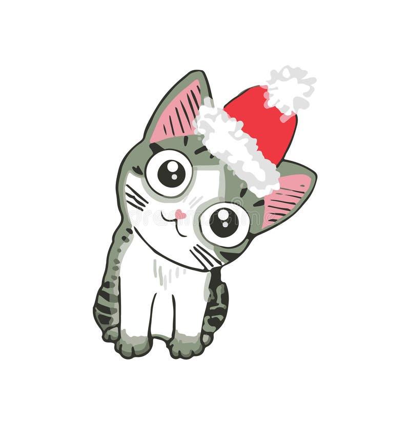 Nettes Kätzchen in einem Sankt-Hut Lustige Katze Weihnachtsillustration kann für Grußkarten benutzt werden lizenzfreies stockbild