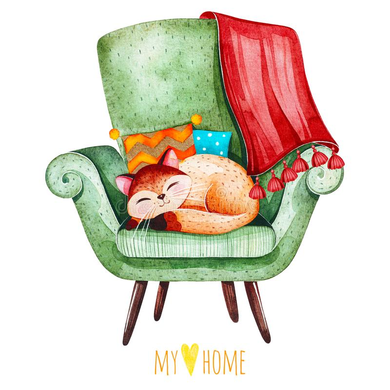 Nettes Kätzchen Schlafens auf gemütlichem grünem Stuhl mit mehrfarbigen Kissen und Plaid stock abbildung